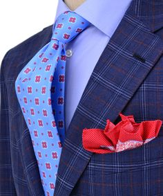 Andrea Campagna | Blue Plaid with Red Windowpane Sportcoat | Apparel | Men's