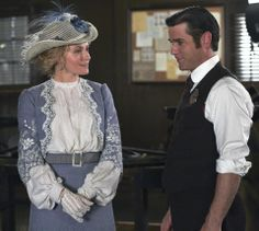 My favorite of all of Dr. Julia Ogden's beautiful outfits on Murdoch Mysteries (Helene Joy and Yannick Bisson)