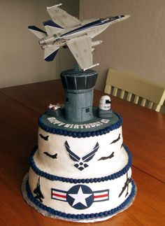 photos of air force cakes - add the air planes he has flown in the military on sides
