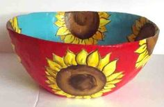 How to make a Paper Mache Bowl – Sunflowers