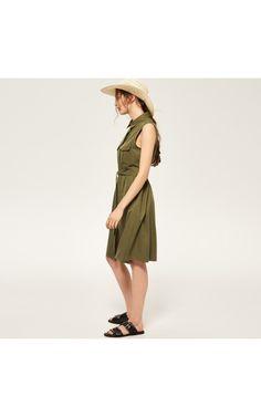 Платье с поясом на талии, Платья, зеленый, RESERVED