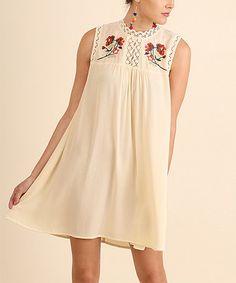 Look at this #zulilyfind! Vanilla Floral Embroidery Sleeveless Shift Dress #zulilyfinds
