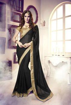 Black Georgette Plain Indian Saris Shop ,Indian Dresses