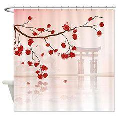 CafePress Pretty Cherry Blossom Against A Japanese Backgroun Shower Curtain