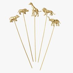 gold animal party picks cake toppers safari jungle party