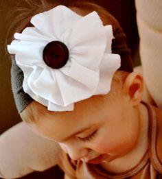White Camelia Jersey Headband $12.00