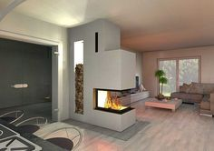 Panoramakamine CAD geplant separate entry/living room with fireplace Fireplace Hearth, Modern Fireplace, Living Room With Fireplace, Fireplace Design, Fireplace Ideas, Home Living Room, Interior Design Living Room, Living Room Designs, Living Room Decor
