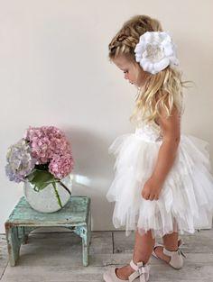 Cute A-line Short White Flower Girl Dress