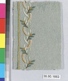 Sample Date: early 19th century Culture: French Medium: Silk on felt Dimensions: L. 4 x W. 2 7/8 inches 10.2 x 7.3 cm Classification: Textiles-Embroidered Credit Line: Gift of The United Piece Dye Works, 1936