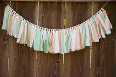 Peaches and Mint Shabby Chic Rag Tie Garland-Baby Shower Decor- Bridal Shower Decor-Wedding Decor- Nursery Decor-Photo Prop