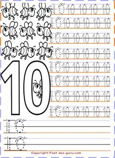 Numbers tracing worksheets 10 for preschool - Printable Coloring Pages For Kids