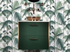 Genius Ikea Hack- IKEA washstand painted green paired with Herbeau Pompadour faucet & shelf in Polished Copper finish Ikea Hacks, Jungle Decorations, Jungle Pattern, Tropical Bathroom, Botanical Wallpaper, Cole And Son, Interior Decorating, Interior Design, Blog Deco