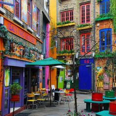 colorful street scene in London