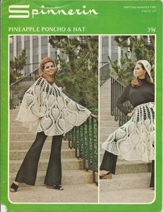 Spinnerin Pineapple Poncho Hat Vintage Crochet Pattern and all that's old is new