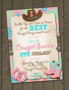 Cowgirl Invitation Cowgirl Birthday Party Invitation Cowgirl Party Invitation by DaxyLuu on Etsy