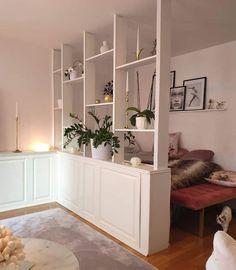 Room Divider Ideas Bedroom, Bookshelf Room Divider, Living Room Divider, Hanging Room Dividers, Room Divider Curtain, Living Room Interior, Ikea Room Divider, Modern Room Dividers, Bedroom In Living Room