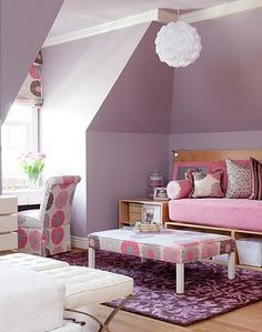 lavendar, pink, orange, purple, highlights of chocolate brown and white Baby S's room