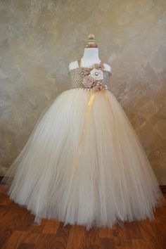 Champagne and Ivory Flower girl tutu dress on Etsy, $50.00