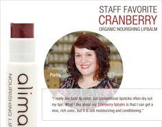 Alima Pure Staff Favorite: Portia <3's Cranberry Organic Nourishing Lipbalm