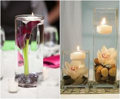 Use water-filled vessels topped with floating candles to create a beautifully simple centerpiece