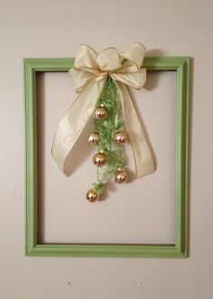 Christmas ornament frame. Trash to treasure.