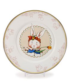 Rabbit Child's Plate  by Golden Rabbit 1'' H x 9'' D Enamel-coated steel Dishwasher-safe