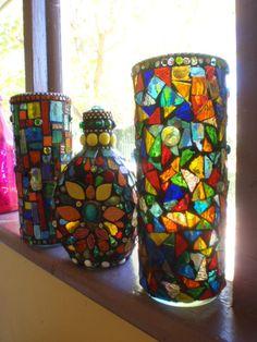 Mosaics on bottle and vase