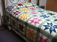 Crochet Quilt Patterns by Sister Margaret Mary The squares are three inches. The 4x4 block is 12 inches.