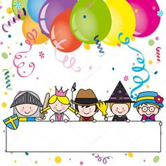 Jelmezes party-kártya Borders For Paper, Borders And Frames, Theme Carnaval, Clown Crafts, Preschool Pictures, Drawing Lessons For Kids, Eid Cards, Kids Background, Creative Activities For Kids