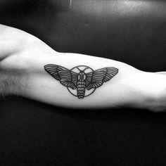 Guys Simple Inner Arm Bicep Moth Tattoos