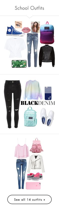 """""""School Outfits"""" by hipopaws on Polyvore featuring Converse, AG Adriano Goldschmied, T By Alexander Wang, rag & bone, JanSport, Dolce&Gabbana, Lime Crime, River Island, Casetify and Keds"""