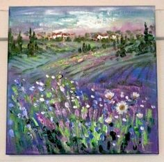 Original oil painting Lavender Fields & White Cottages Provence France Vadal