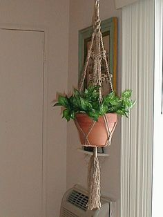 Macrame Plant Hanger Double DRAGONFLY by JoanDougArt on Etsy