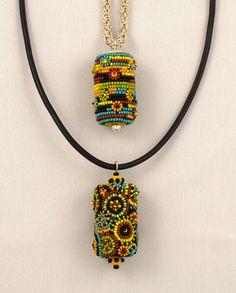 Kimberley Price - Jewellery & Beadwork  , two bead embroidered bead pendants