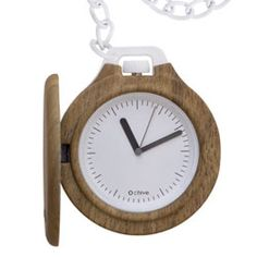 O chive pocket watch - Oak wood finish. Made in Italy by Fullspot, designed by laboratorio.quattro. White face (3.5cm) with 3 black hands, 40cm white painted metal chain, resistance closing cover, Citizen quartz. Not real wood.