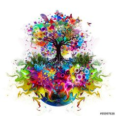 Abstract Multicolored Tree With Roots Stock Illustration - Illustration of spring, pink: 62387903 Tree Tattoo Designs, Phone Background Patterns, Rainbow Art, Pictures To Paint, Tree Art, Abstract Watercolor, Wall Art Prints, Creations, Fox Tattoos