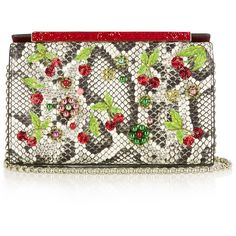 Christian Louboutin Vanite cherry-embroidered snakeskin clutch (112.345 RUB) ❤ liked on Polyvore featuring bags, handbags, clutches, beaded clutches, snakeskin handbags, white beaded purse, beaded purse and white purse