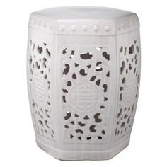 A & B Home Filigree Garden Stool - The A & B Home Filigree Garden Stool is an elegant ceramic piece that can be used as a convenient outdoor perch or an indoor side table. Inspired by a...