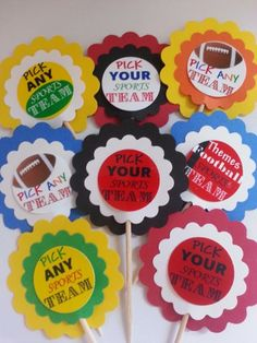 Football Team Party Favors, Wine Charms, Water Bottle Charms
