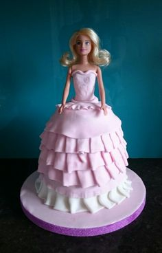 Barbie doll pink birthday cake