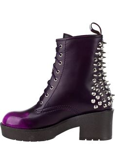 Jeffrey Campbell 8th Street Spike Boot Purple Leather - Jildor Shoes, Since 1949