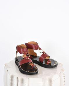 0ef6738be28 Isabel Marant Nindle smooth leather sandals Burgundy