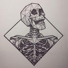Geometric Skeleton: Skeleton Tattoos, Fake Tattoos, Body Art Tattoos, Skull Tattoos, Tattoo Sketches, Tattoo Drawings, Cool Drawings, Art Sketches, Sketchbook Inspiration