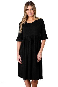 Dearlovers Womens Ruffle Sleeve Loose Swing Casual Midi Dress X-Large Size Black Simple Dresses, Day Dresses, Nice Dresses, Casual Dresses, Elegant Dresses, Mode Simple, Short Sleeve Dresses, Dresses With Sleeves, Black Ruffle