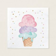 Shop Pink Mint Ice Cream Cone Confetti Paper Napkins created by Anietillustration. Personalize it with photos & text or purchase as is! Cute Ice Cream Drawing, Draw Ice Cream, Ice Cream Art, Mint Ice Cream, Ice Cream Parlor, Ice Cream Background, Ice Cream Painting, Ice Cream Illustration, Cream Room