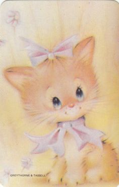 *Vintage 70's Swap/Playing Card - 1 Single - gorgeous cat with bows