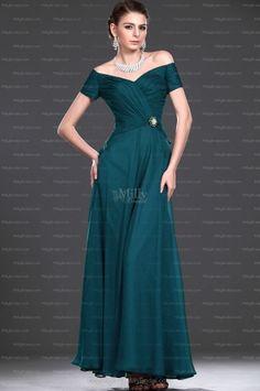 A-line Off-the-shoulder Chiffon Ankle-length Formal Dress