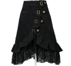 Women's Steampunk Gothic Clothing Vintage Cotton Lace Skirts Black Gypsy Hippie Medium