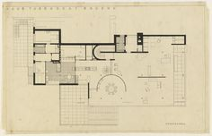 """Tugendhat House, Brno, Czech Republic, Ground floor plan  Ludwig Mies van der Rohe (American, born Germany. 1886–1969)    1928-30. Ink and pencil on tracing paper, 24 1/2 x 38 1/2"""" (62.2 x 97.8 cm). Mies van der Rohe Archive, gift of the architect. © 2012 The Museum of Modern Art, New York"""