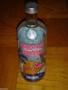 Absolut Miami Limited Edition Empty 1 Liter Bottle of Vodka Palm Tree Outline, Publisher Clearing House, Nightlife, Roxy, Palm Trees, Vodka Bottle, Sweden, Flamingo, Empty